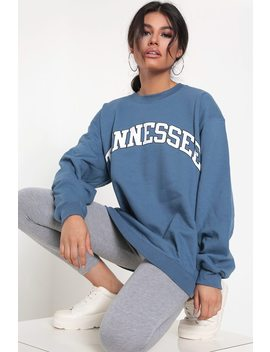 Indigo Blue Tennessee Slogan Oversized Sweatshirt by I Saw It First