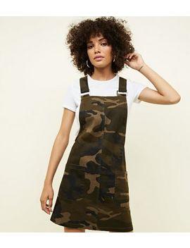 Khaki Camo Pocket Front Pinafore Dress by New Look