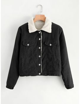 Shearling Contrast Ribbed Jacket by Sheinside