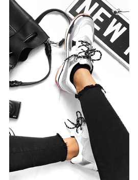 Silver And White Chunky Lace Up Trainers   Thea by Rebellious Fashion