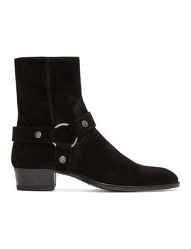 ブラック スエード ワイアット ハーネス ブーツ by Saint Laurent