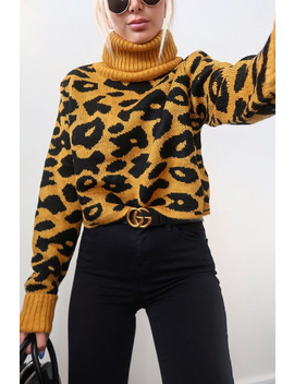 Mustard Leopard Crop Roll Neck Jumper   Halley by Rebellious Fashion