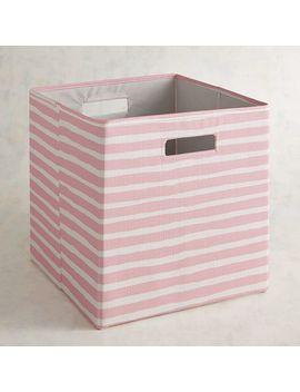 Pink Striped Bin by Pier1 Imports