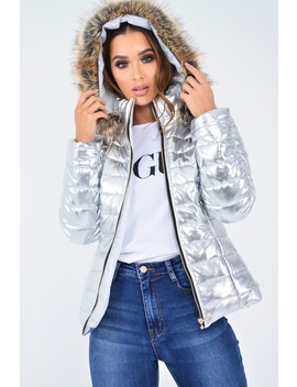 Silver Wet Look Puffer Coat   Soph by Rebellious Fashion