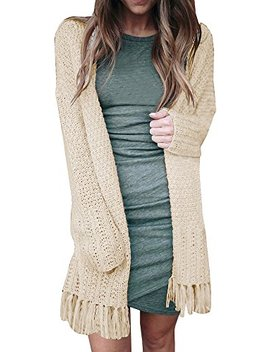 Lynwitkui Women's Tassel Long Sleeve Open Front Cardigan Sweater Coat by Lynwitkui