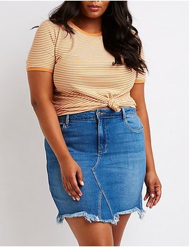 Plus Size Cello Frayed Denim Skirt by Charlotte Russe