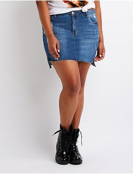 Plus Size Destroyed Denim Skirt by Charlotte Russe