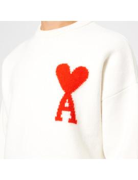 Ami Men's Intarsia Logo Crew Neck Jumper   White by Ami