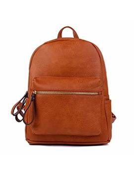 Women Backpack Purse Pu Leather Simple Design Casual Daypack Fashion School Backpack For Girls Brown by Korjo