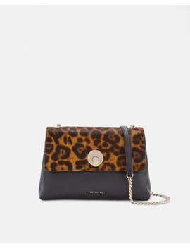 Leopard Circle Lock Leather Cross Body Bag by Ted Baker