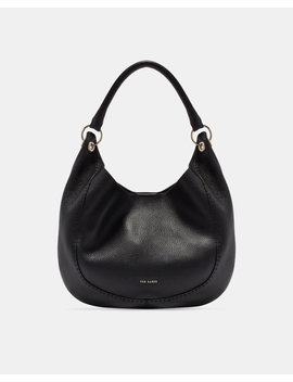 Knotted Handle Leather Hobo Bag by Ted Baker