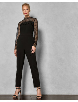 Lace Frill Bodice Jumpsuit by Ted Baker
