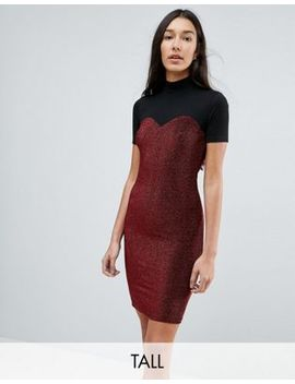 Noisy May Tall High Neck Mesh Top Glitter Bodycon Dress by Noisy May Tall