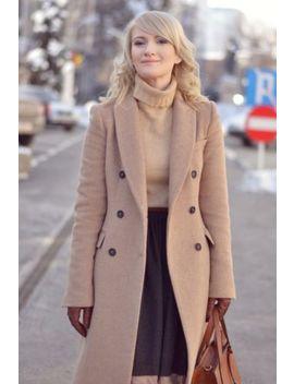 Zara Woman Camel Masculine Double Breasted Coat Jacket Wool Blazer Medium M by Zara