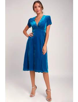 Margie Blue Velvet V Neck Midi Dress by Wayf