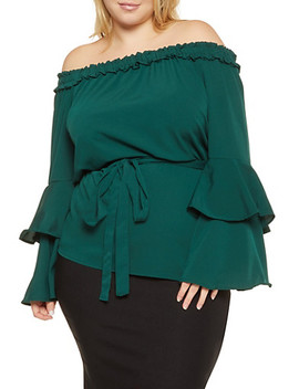 Plus Size Off The Shoulder Tiered Sleeve Top by Rainbow