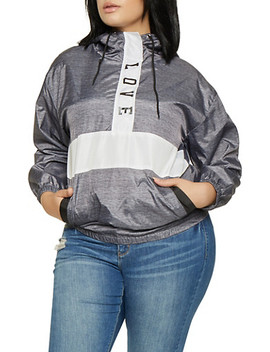 Plus Size Color Block Windbreaker by Rainbow