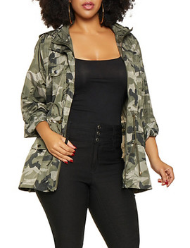 Plus Size Camo Windbreaker by Rainbow