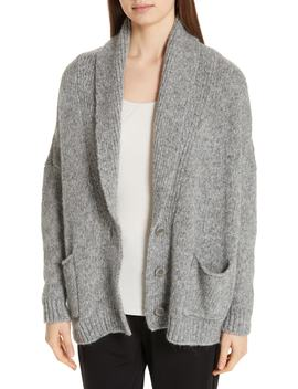 Shawl Collar Cotton & Alpaca Blend Cardigan by Eileen Fisher