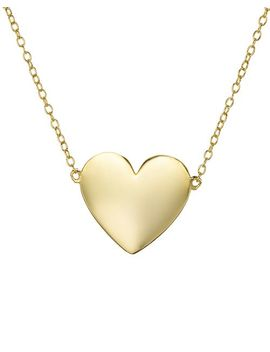 """Heart Pendant Necklace In 18 K Gold Plated Sterling Silver, 12""""   100 Percents Exclusive by Aqua"""