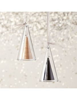 Bell Black Wood Triangle Ornament by Crate&Barrel