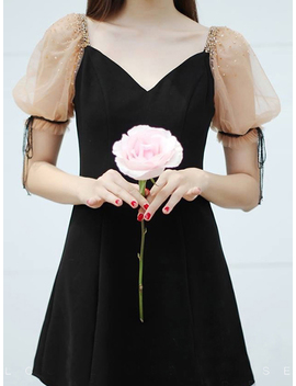 Black V Neck Beaded Detail Puff Sleeve Chic Women Mini Dress by Choies