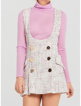 White Plaid Cotton Shoulder Strap Pocket Detail Chic Women Mini Dress by Choies