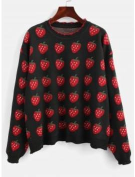 Strawberry Graphic Sweater   Black by Zaful