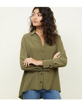 Khaki Open Collar Contrast Stitch Shirt by New Look