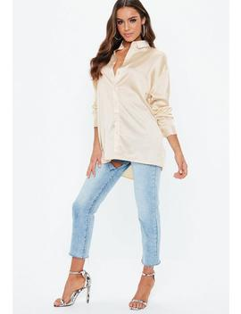 Nude Oversized Satin Shirt by Missguided