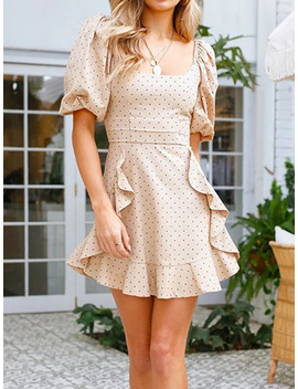 Beige Polka Dot Print Ruffle Trim Puff Sleeve Chic Women Mini Dress by Choies
