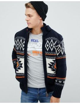 Superdry Super Buffalo Cardigan In Navy by Superdry