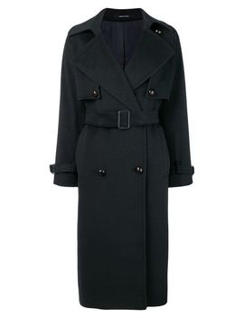 Women's Blue Buttoned Midi Trench by Tagliatore