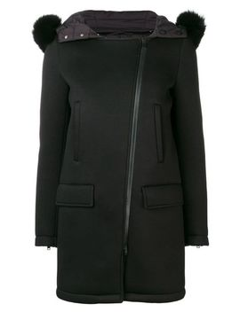 Women's Black Hooded Mid Length Coat by Herno