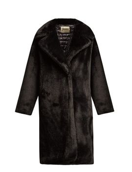 Women's Black Water Resistant Padded Faux Fur Coat by Herno