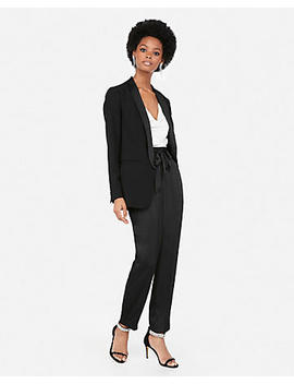 Ruched Sleeve Shawl Collar Tuxedo Boyfriend Blazer by Express