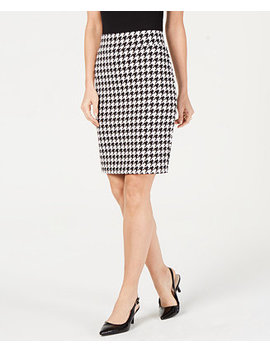 Petite Houndstooth Print Skirt, Created For Macy's by Alfani