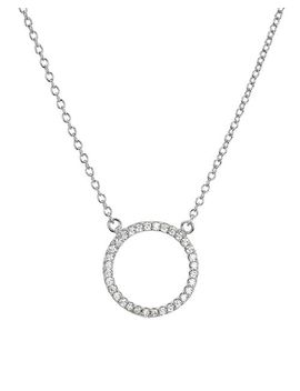 "Sterling Silver Circle Pendant Necklace, 15""   100 Percents Exclusive by Aqua"