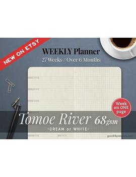 Tomoe River 68gsm Weekly Planner, Week On One Page, Traveler's Notebook   12 Colours, Fountain Pen Paper Hobonichi Weeks by Etsy
