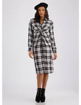 Good To Be Plaid Twisted Shirt Dress by Go Jane