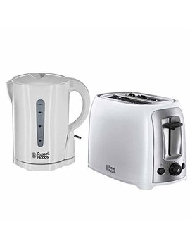Russell Hobbs White Electric Kettle 2200w & 2 Slice White Toaster 850w   Essentials White Kettle Toaster Set by Russell Hobbs  Tooltime