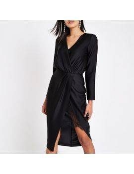 Black Wrap Front Waisted Midi Dress by River Island