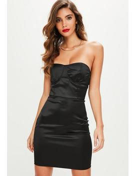 Black Satin Bustcup Bandeau Bodycon Dress by Missguided