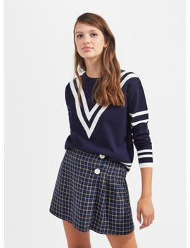 Navy Chevron Compact Knitted Jumper by Miss Selfridge