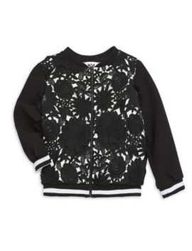 Little Girl's & Girl's Floral Appliqué Bomber Jacket by Milly Minis
