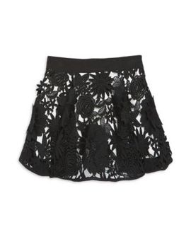 Little Girl's & Girl's Cady Floral Appliqué Skirt by Milly Minis