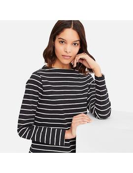 Women Boat Neck Striped Long Sleeved T Shirt by Uniqlo
