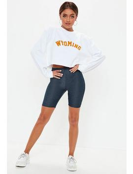 Mid Blue Denim Look Cycling Shorts by Missguided