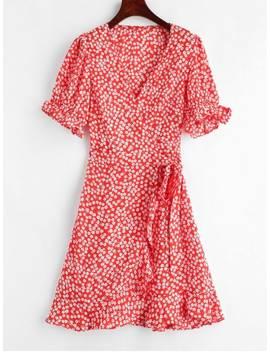 Floral Print Mini Wrap Tea Dress   Red M by Zaful