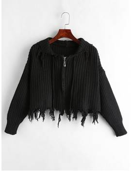 Frayed Zipper Hooded Cardigan   Black by Zaful